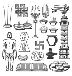 Jainism religion jain dharma icons and symbols vector