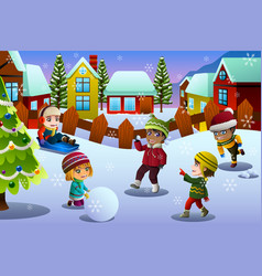 Kids playing in the snow during winter season vector