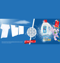 laundry detergent advertisement template with vector image