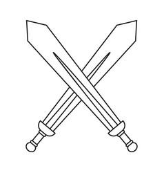 line art black and white crossed swords vector image