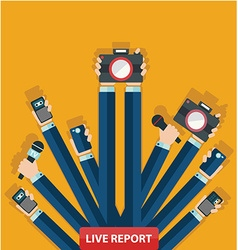 live report concept live news hands journalists vector image