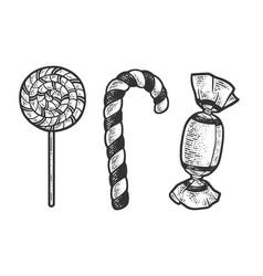 Lollipop sugar candies set sketch vector