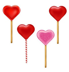 Lollypops Form Of Hearts Set vector image