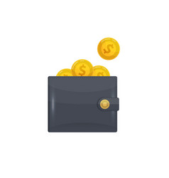 man leather wallet with golden coins icon vector image