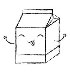 Milk box kawaii character vector
