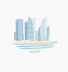 modern buildings skyscrapers on busan embankment vector image