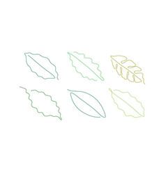One line art style coffee leaf abstract food vector