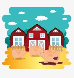 Pigs in the farm scene vector