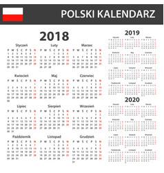 Polish calendar for 2018 2019 and 2020 scheduler vector