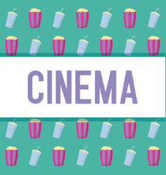 popcorn with bottle of drink pattern vector image