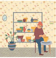 Pottery hobby man hipster at home pots making vector