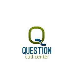 question call center emblem vector image