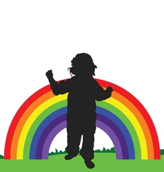 rainbow line with child vector image