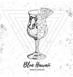realistic and polygonal cocktail blue hawaii vector image