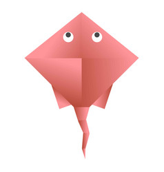 Red skate paper figurine vector
