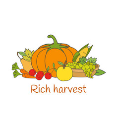 rich harvest flat concept with vegetables vector image
