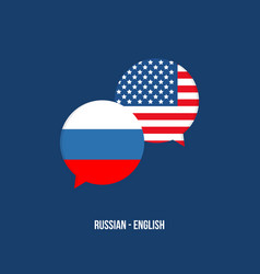 Russian and american translation speech bubbles vector