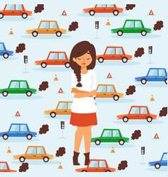 Sad girl in traffic broken car accident vector