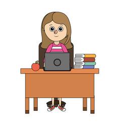 School student girl cartoon vector