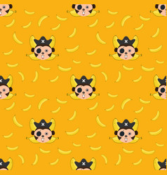 Seamless pattern monkey and bananas vector