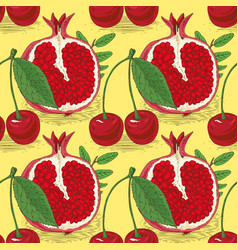 seamless pattern with cherries and pomegranates vector image