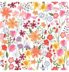 Seamless pattern with contour summer flowers vector image