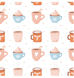 seamless pattern with cute cocoa cups and vector image