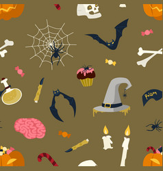 seamless pattern with halloween magic items and vector image
