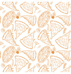 Seamless pattern with pizza herbs mushrooms olives vector