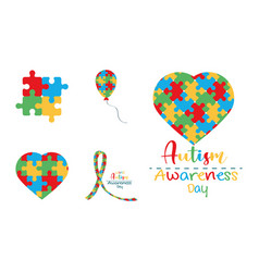 Set autism awareness day icon puzzles shaped vector