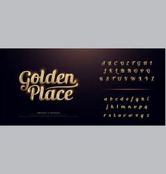 Set elegant gold colored metal chrome alphabet vector