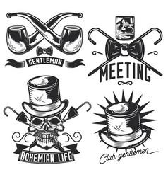 set gentleman emblems vector image