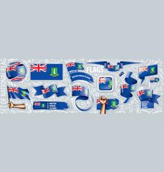 set national flag british virgin vector image