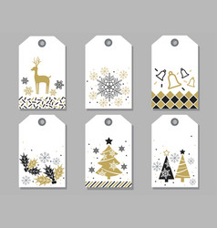 Set of assorted new year and christmas gift tags vector