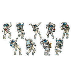 Set of dancing astronauts collection vector