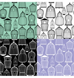 Set of seamless patterns with decorative bird cage vector