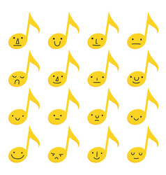 set sixteen yellow musical notes with emoji vector image