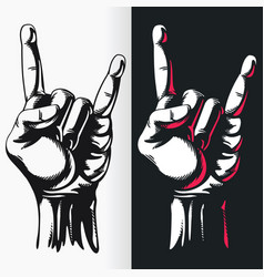 silhouette rock n roll hand gesture sign stencil vector image