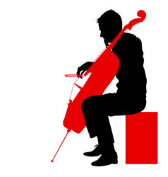 Silhouettes a musician playing the cello on a vector