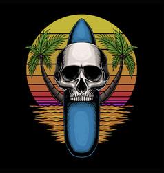 skull surfing board retro vector image