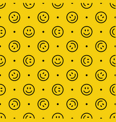 Smile icon pattern happy faces on yellow vector
