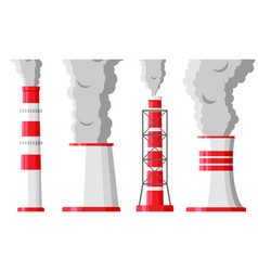 smoking factory pipes against white background vector image