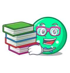 student with book circle mascot cartoon style vector image