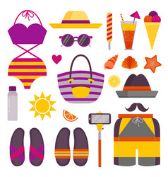 summer beach stuff and accessories icons vector image