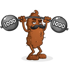 tough poop cartoon lifting weights vector image