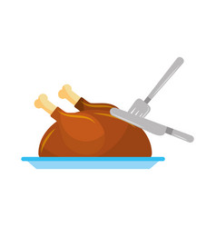 Turkey fork and knife dinner food for thanksgiving vector