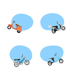 Vintage and modern scooters advertising tags vector