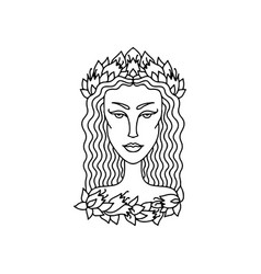 virgo girl portrait zodiac sign for adult vector image