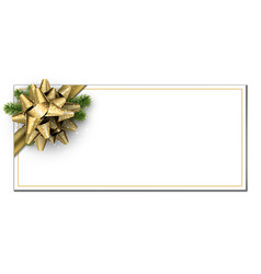 white christmas banner with golden bow vector image