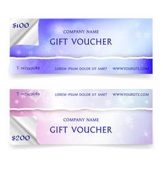 winter snowy gift voucher template vector image